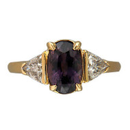 Vintage 2.38ct Natural Purple Brown Sapphire .45ct Trilliant Diamond 18k Ring