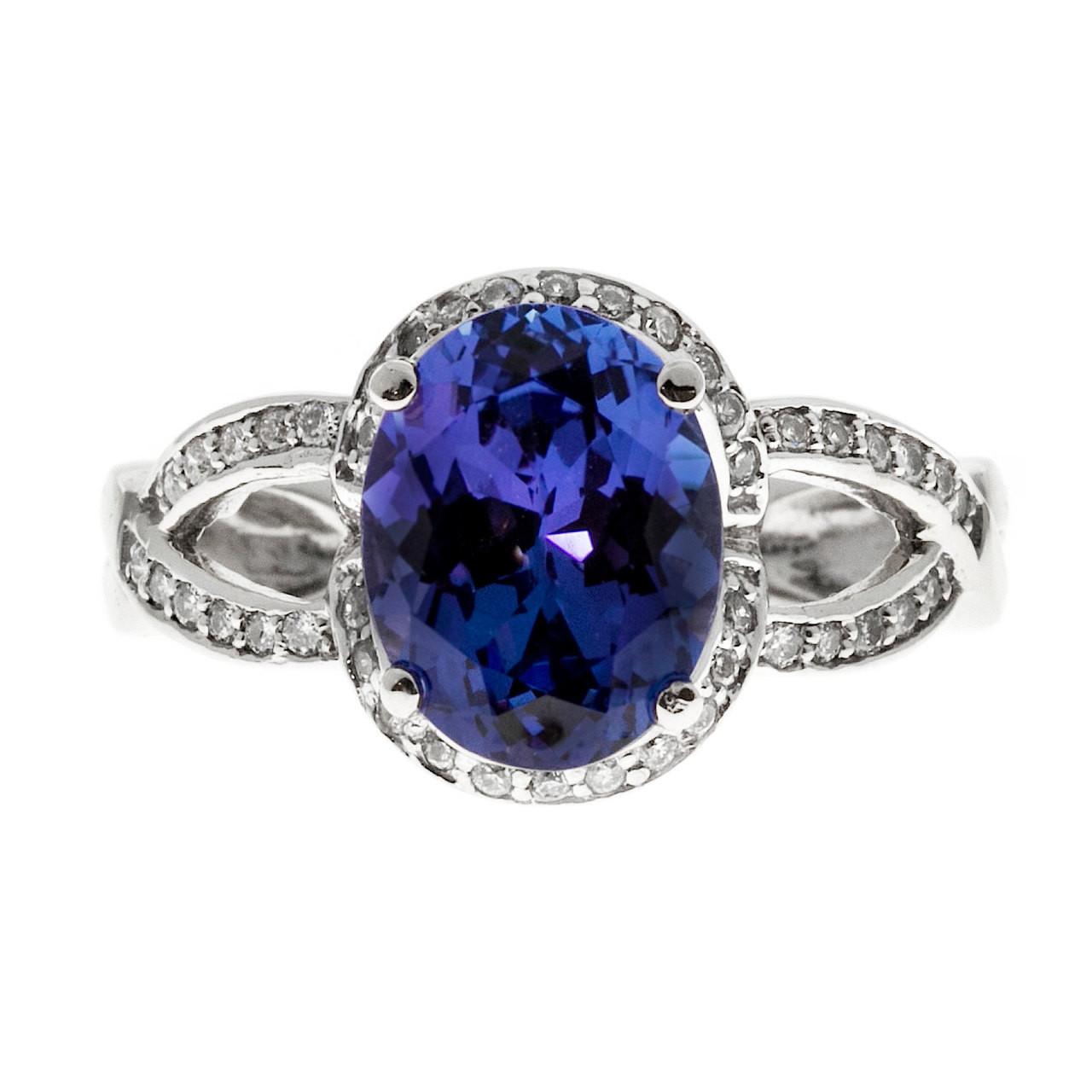 Lavender Tanzanite: Vintage 3.14ct Bright Oval Purple Blue Tanzanite 14k Gold