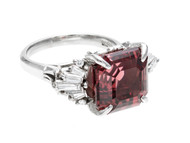 Vintage Garnet Engagement Ring Pyralspite 10.99ct Asscher Diamond Platinum