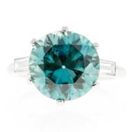 Vintage Antique 11.29ct Gem Blue Zircon Rare Platinum Diamond Ring
