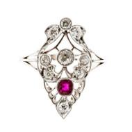 Art Deco Bright Red .20ct 1900 Platinum Cushion Ruby Diamond Ring