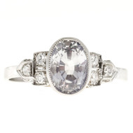 Antique Art Deco 2.06ct Near Colorless Sapphire Engagement Ring
