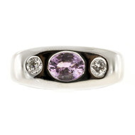 Estate .65ct Natural Color Soft Pink Sapphire Diamond 14k White Gold Ring
