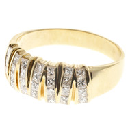 Vintage Rare Large Size Zig Zag Channel Set Princess Diamond Ring 14k Gold