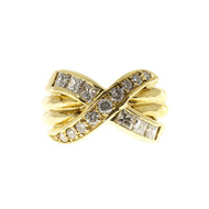 "Estate 18k Yellow Gold Double Band ""X"" Channel Set Princess & Round Diamond Ring"