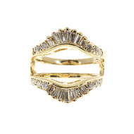 Estate 14k Yellow Gold Graduated Baguette & Round Diamond Inset Ring