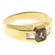 Estate 18k Yellow Gold Natural Orange Brown Asscher & 2 Emerald Cut Diamond Ring