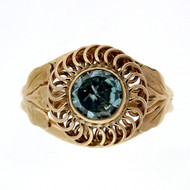 Antique Retro Art Deco 14k Pink Gold Ring .70ct Natural Blue Zircon