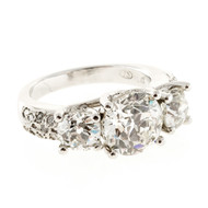 Ideal Old European Cut Three Stone Diamond Platinum Ring
