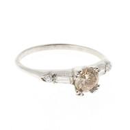 Art Deco .60ct Light Brown Diamond Side Baguette & Round 18k White Gold Ring
