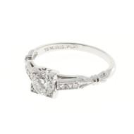 Vintage 1940s Art Deco 0.51ct Single Cut Diamond Platinum Ring EGL Certified