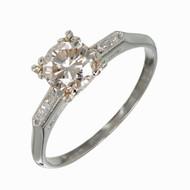 Vintage Art Deco Square Cut 14k Gold Very Light Brown GIA 1.00ct Diamond Ring