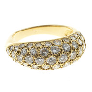 Vintage 1.00ct 57 Full Cut Diamond 18k Solid Gold Pave Dome Ring European