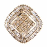 Vintage Fancy Smoky Brown 2.00ct Baguette Round Full Cut Diamond 10k Ring Sz 7