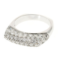 Vintage 70 Full Cut Diamond 1.07ct 14k White Gold Pave Set Dome Ring