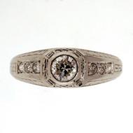 Antique Art Deco Platinum Ring 1930 0.26ct Diamond Modern European Cut