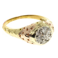 Antique Vintage Retro Art Deco Jabel Ring 14k Pink Green Gold .50ct Diamond
