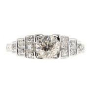 Vintage Engagement Ring Art Deco .65ct Old European Diamond 18k White Gold