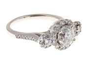 Engagement 1.57ct Diamond Three Stone Halo 14k White Gold Ring
