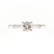 Estate 1950'S Solid Platinum .56ct G, Vs2 Round Diamond Baguette Engagement Ring
