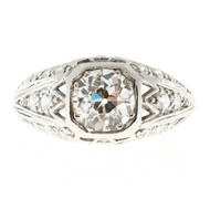Antique Art Deco .93ct Old European Cut Platinum Diamond Ring