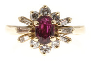 Estate 1960s 14k Princess Style Raised Baguette Full Diamond & Oval Ruby Ring