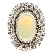 Estate 1960s Greenish Blue Clear Opal & Diamond 14k Wire Cocktail Style Ring