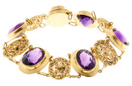 Antique Victorian Filigree 27.00ct Amethyst 14k Yellow Gold Bracelet
