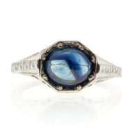Art Deco 18k Palladium Hand Engraved And Pierced Filigree Cabochon Sapphire Ring