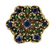 Estate 14k Yellow Gold Round Blue Sapphire Green Emerald Flower Ring Size 7