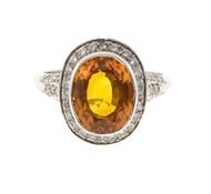 Estate Rare Orange 4.00ct Oval Orange Sapphire Diamond Filigree Platinum Ring