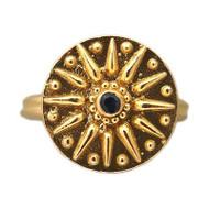 "Vintage Estate 22k Yellow Gold ""Z"" Sundial Motif Round Sapphire Ring"