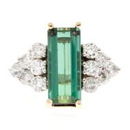 Estate 14k Elongated Art Deco Emerald Cut Tourmaline & Diamond 14k 2 Tone Ring