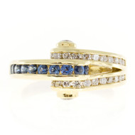 Vintage Charles Krypell 18k Yellow Gold Curved Top Blue Sapphire Diamond Ring