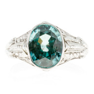 1930 Art Deco Vintage 5.68ct Natural Blue Zircon White Gold Ring