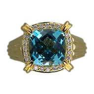 Vintage Charles Krypell Heavy 18k 6.20ct Blue Cushion Topaz 0.30ct Diamond Ring