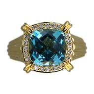 Vintage Charles Krypell Heavy 18k 6.20ct Blue Cushion Topaz 0.30ct Diamond Ring