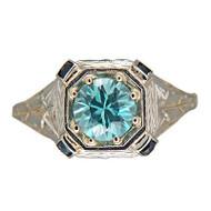 Vintage Art Deco 20k White Gold Pierced Filigree 1.50ct Zircon Sapphire Ring