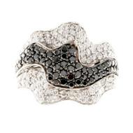 Vintage Sonia B 18k Gold 1.25ct White .75CT Black Diamond Ribbon Design Ring