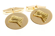 Vintage Solid 14k Pheasant Front Cuff Links Crossroads Of Sport Gold Hinge Clip
