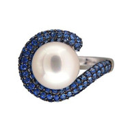 Vintage JS 10mm Cultured Pearl Sapphire Pave 14k White Gold Ring