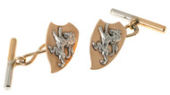 Vintage 1920s 14k Pink Gold and Platinum Lion Cuff Links Modified Shield Design