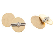 Bb Biddle Brushed Polished 14k Gold Platinum .12CT Doubled Sided Cuff Links