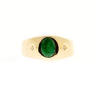 Vintage Men's Natural Jadeite Jade Oval CIO 1.00ct 14k Yellow Gold Ring