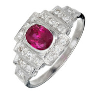 Antique Art Deco 1.04ct Platinum Natural Ruby Diamond Ring