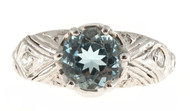 Antique Art Deco Filigree Ring 1.50ct Natural Rare Gem Aqua