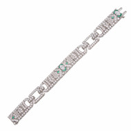 Art Deco 8.50ct Marquise & Round Diamond Calibre Emerald Platinum Bracelet