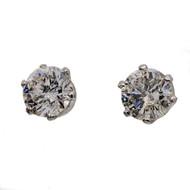 Transitional Cut 2.04ct Certified Diamond Stud Crown Style Pierced Post Earrings