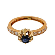 Antique Victorian 1880 14k Pink Gold .50ct Sapphire Old Mine Diamond Ring