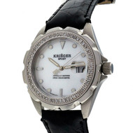 Krieger Sport Watch Steel Mother Of Pearl Dial Diamond Bezel Alligator Strap